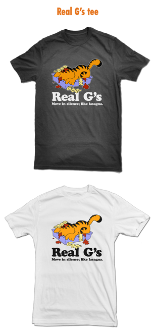 T-shirt with Garfield eating lasagne
